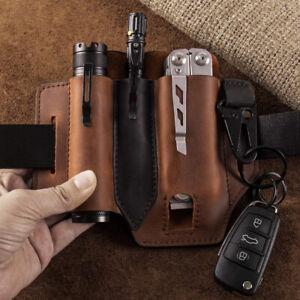 Multitool Leather Sheath Sheath with Pen Key Flashlights Holder EDC Pocket 