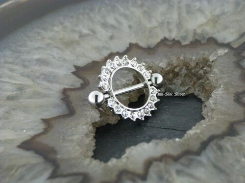 Piercing Nipple Shield Intimpiercing Brustpiercing Ring Kristalle viele Farben
