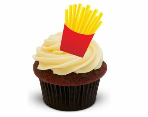 Standups 12 Edible Standup Premium Wafer Cake Toppers FRENCH FRIES