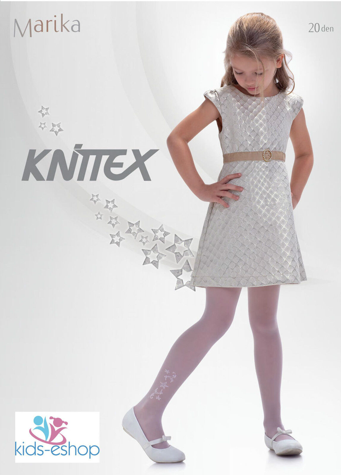 Patterned White Girls Tights Formal Party Communion Bridesmaids Marika