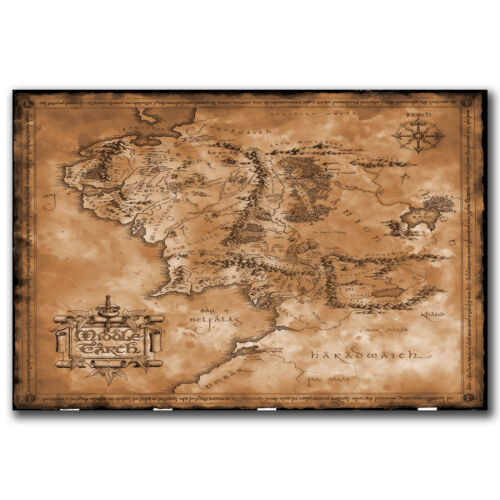 The Hobbit Map The Lord OF The Rings Art Hot 12x18 24x36in FABRIC Poster N2775