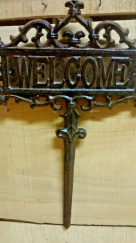 /' Cast Iron WELCOME Yard Sign EASY TO INSTALL Rustic Brown