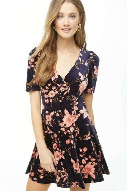 Forever 21 Midnight Pink Floral Print Velvet Mini Dress XS/S