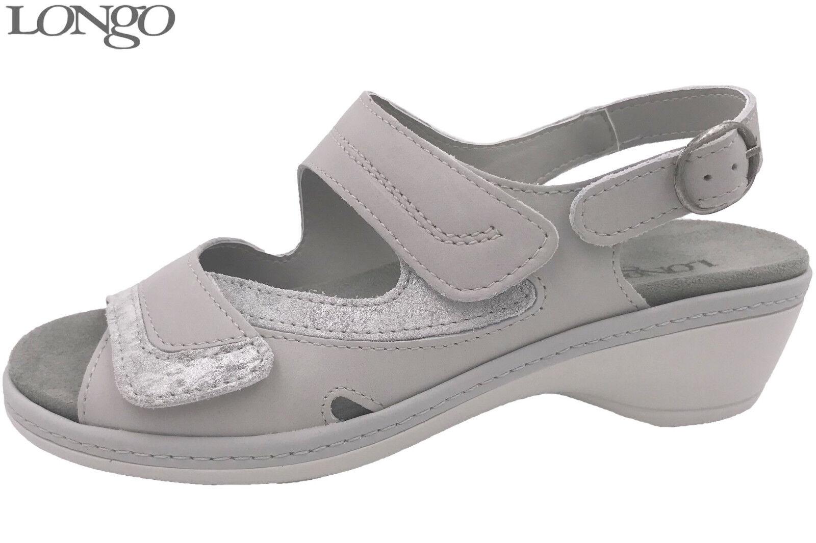 Longo Damen Sandalee Grau Leder Sandaleette Sommer Schuhe bequem 1006414 NEU