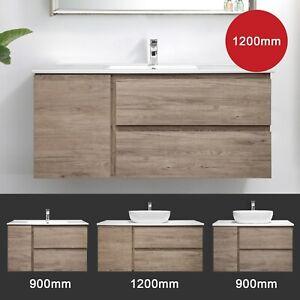 Bathroom Vanity Wall Hung Cabinet 900 1200 Timber Oak Finger Pul Albany Ebay
