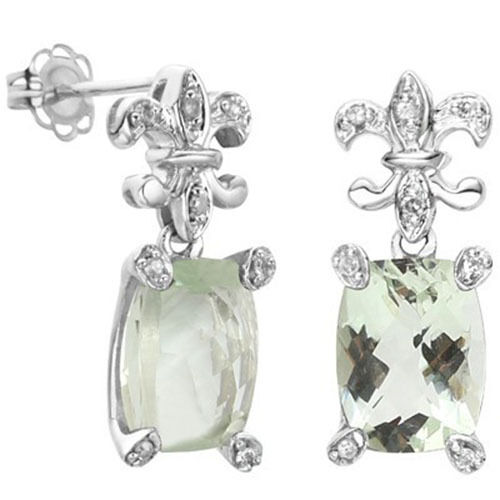 FLEUR DE LIS GENUINE DIAMOND /& GREEN AMETHYST 925 STERLING SILVER EARRINGS