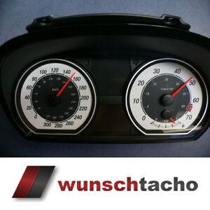 Tachoscheibe-fuer-Tacho-BMW-1er-E81-E82-E87-E88-Schwarz-Weiss-310-Km-h