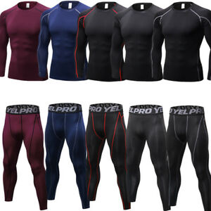 Mens-Compression-Pants-Tops-Athletic-Gym-Workout-Base-Layers-Moisture-Wicking