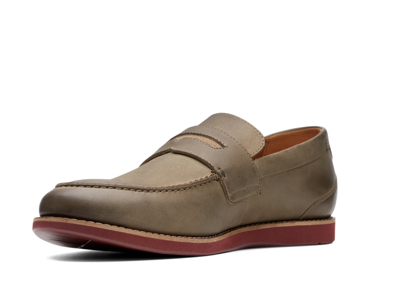 Clarks Raharto Way Men's Shoes in Olive Leather - UK8 - EU42 - US9