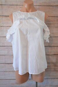PORTMANS-cold-shoulder-blouse-Sz-14-large-white-Striped-tunic