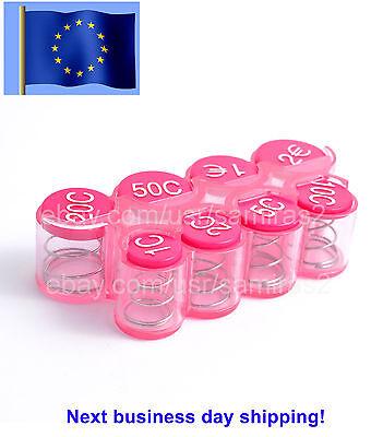 EUR Coins holder dispenser EURO Coin Plastic PINK color money wallet Sorter box