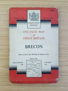 Vintage-Ordnance-One-Inch-Cloth-Survey-Map-Of-Brecon-Sheet-141-1952-OS-Map