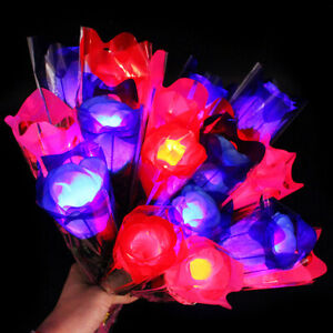 Am-Glow-in-Dark-LED-Light-Artificial-Rose-Flower-Romantic-Valentine-039-s-Day-Gift