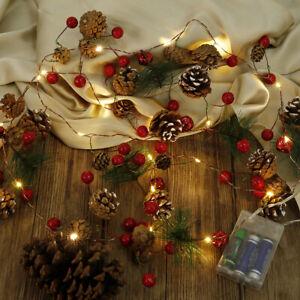 Christmas-Leaf-Garland-String-Wreath-Fairy-Lights-LED-Battery-Party-Wedding-Xmas