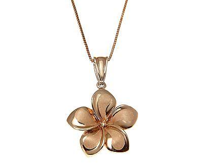 17MM SOLID 14K ROSE GOLD BRUSHED SATIN HIGH POLISH FANCY PLUMERIA FLOWER PENDANT