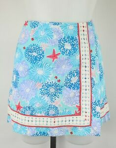 Lilly-Pulitzer-Blue-Floral-And-Starfish-Print-Skirt-Size-4