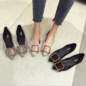 Women-039-s-OL-Stylish-Buckle-Flat-Pointed-Toe-Fashion-Career-Pumps-Shoes-Loafers
