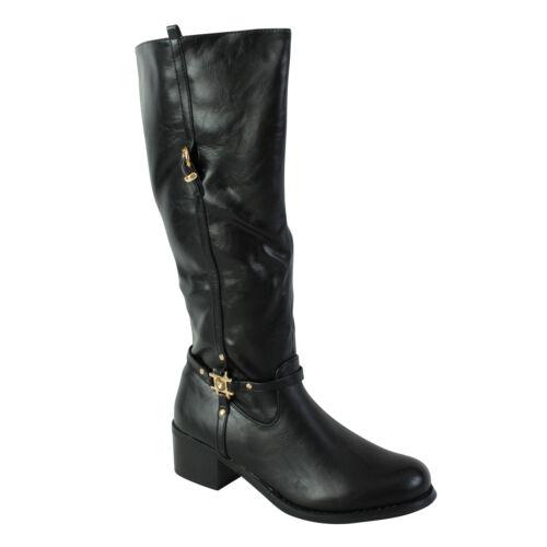 New Women/'s Ladies Mid Block Heel Zip Buckle Strap Biker Calf Knee Girls Boots