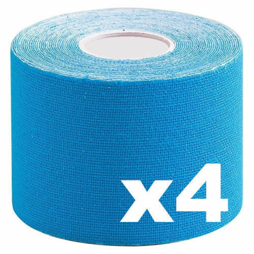 4 x Physiotherapy Tape Sport Elastic Physio Remedy Muscle Injury Blue Trendy