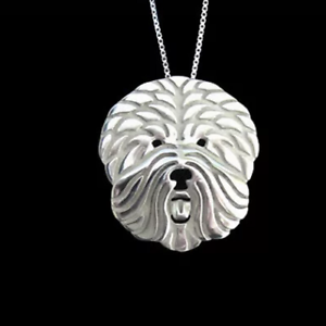 """OLD ENGLISH SHEEPDOG PENDANT NECKLACE WITH 18/"""" SILVER CHAIN LOVELY GIFT"""