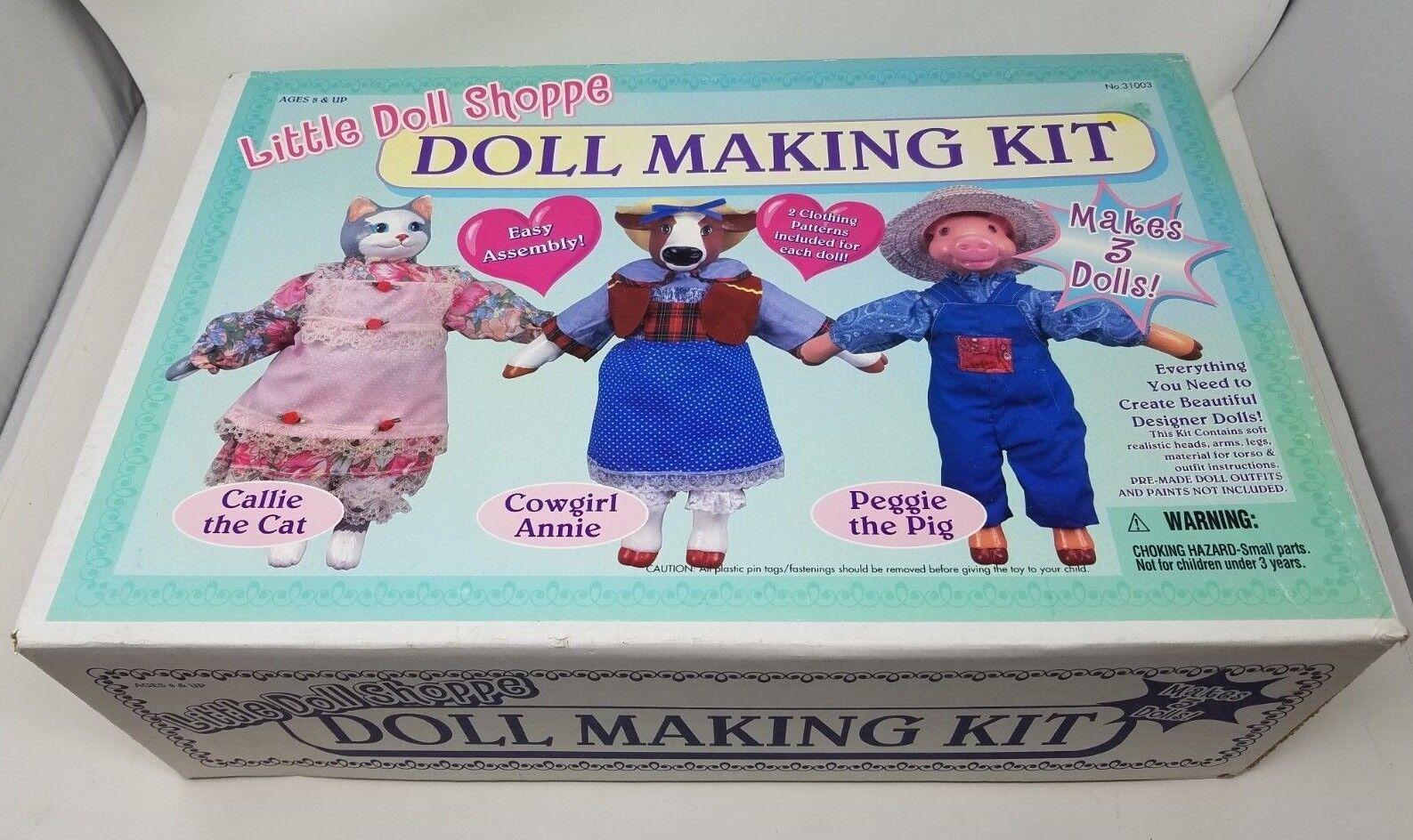 Vintage Little Doll Shoppe Puppe Herstellung Set Nos Kuh Katze Schwein Gefülltes