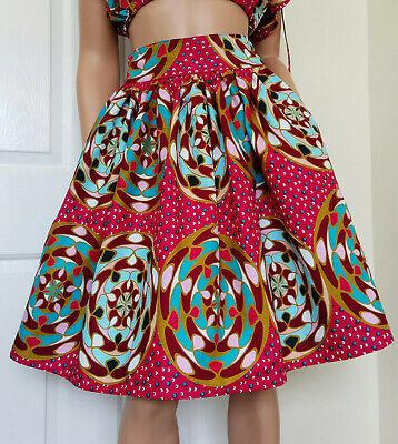 /'Candy/' Woman African Printed Fabric Midi Skirt 100/% Wax Cotton Handmade UK