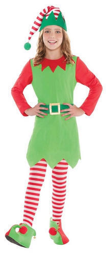 Merry Elf Girls Fancy Dress Age 8-14 Christmas Xmas Childs Kid Teens Costume New