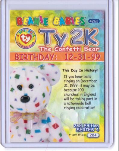 Beanie BIRTHDAY Card INSERT #284 Ty S4 RARE SILVER  *TY2K THE CONFETTI BEAR