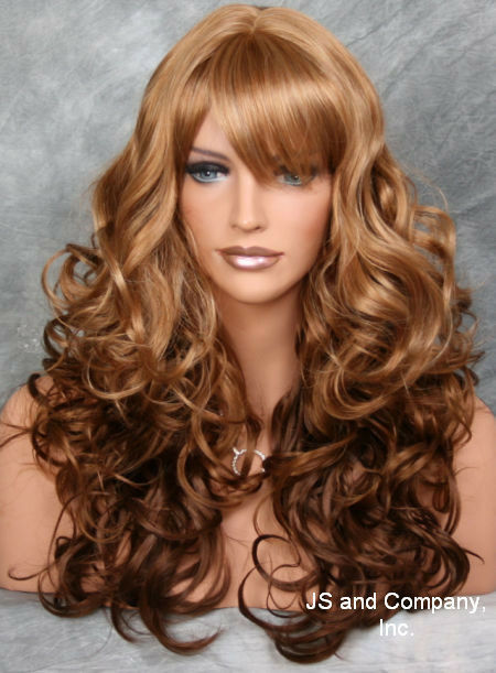 Playful LONG WAVY Curly Ginger Cinnamon mix wig with Full bangs JSCA G27