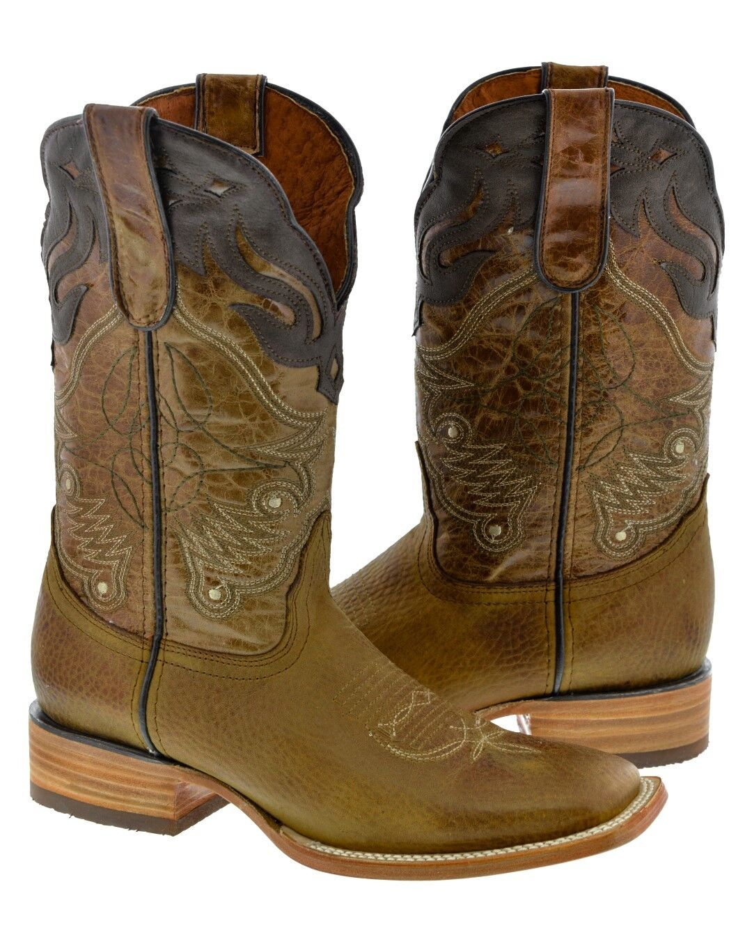 Mens Honey Rodeo braun Overlay Real Leather Cowboy Stiefel Western Wear Square Toe