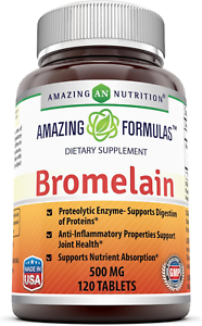 Amazing Nutrition Bromelain Proteolytic Digestive Enzymes Supplements, 500 mg