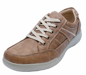 MENS-TAN-LACE-UP-COMFY-LIGHTWEIGHT-SMART-CASUAL-WALKING-TRAINER-SHOES-UK-6-12