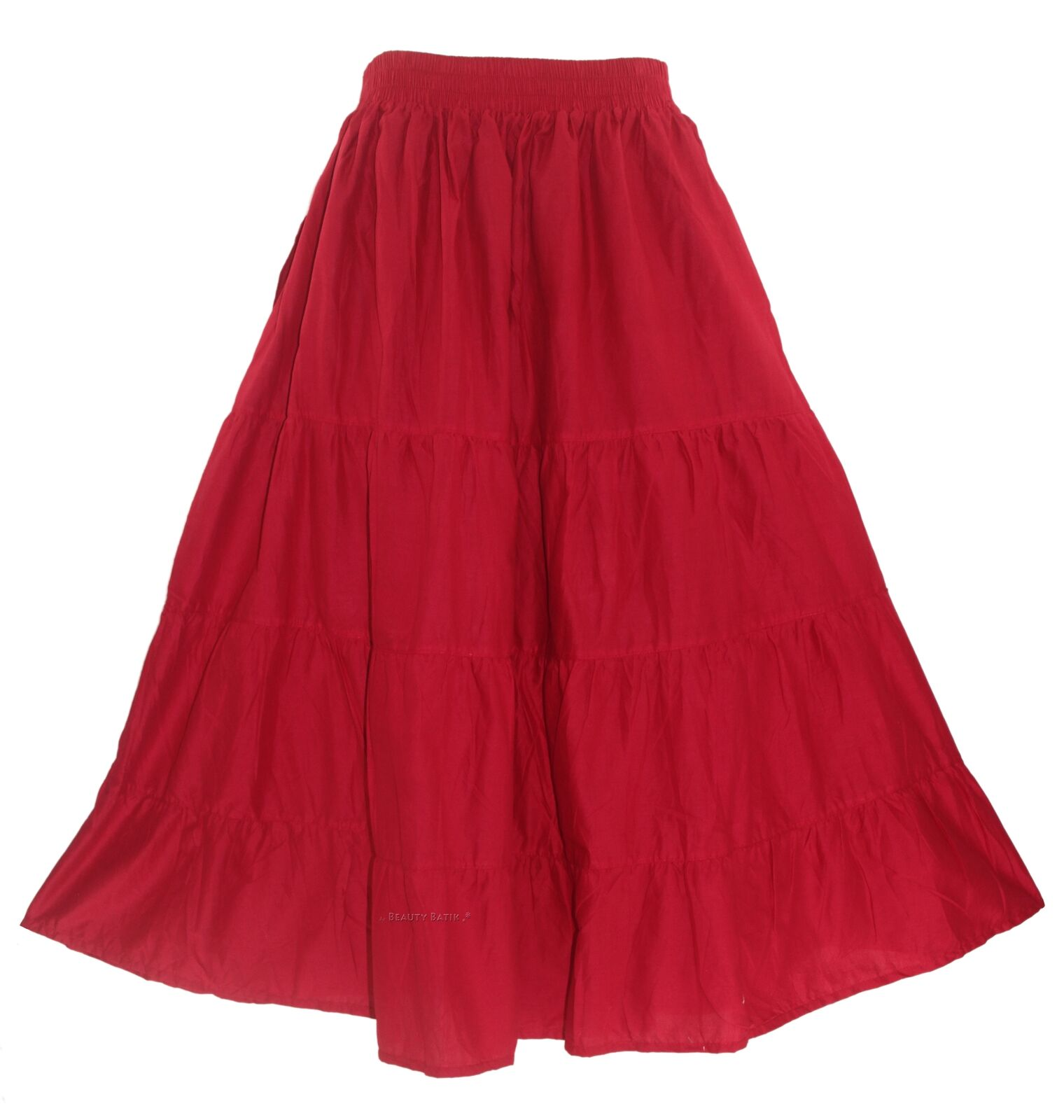 Red Women Cotton BOHO Gypsy Long Maxi Tier Flare Skirt XL 18