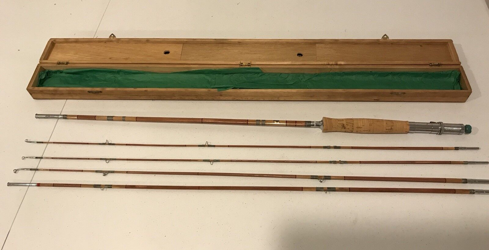 Vintage Japanese Fishing Poles by  Orient Fishing MFG 1948 In Original Wood Case  free delivery and returns