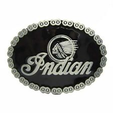 Indian Emblem Chief Head Black Metal Belt Buckel Oval Vintage American Native
