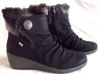 Rieker mombasa Faux-fur Trim Ankle Boots - Black- 38- 5