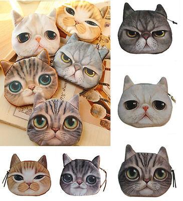 New Childrens Cute Cat Face Zipper Case Coin Women Purse Wallet Makeup Bag Pouch