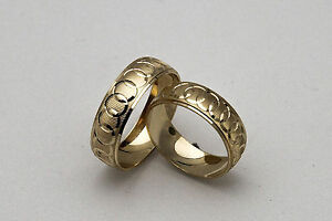 10K-SOLID-YELLOW-GOLD-HIS-AND-HER-WEDDING-BAND-RING-SET-SZ-4-15-FREE-ENGRAVING