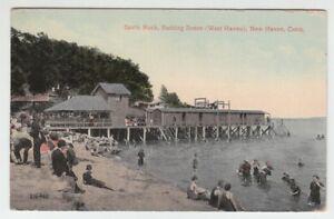 67195-1914-POSTCARD-SAVIN-ROCK-BATHING-SCENE-WEST-HAVEN-NEW-HAVEN-CONN