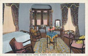 PC50331 Bedroom and Bath. Hotel Europa. San Jose. Costa Rica. C. A. E. C. Kropp