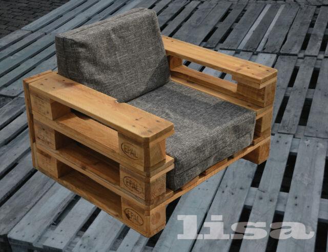 Lounge Gartenmöbel 1-SITZER Palettenmöbel, Terrasse vintage Design Balkon