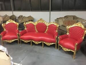 Image Is Loading Baroque Style Sofa Set 2 Armchairs Gold