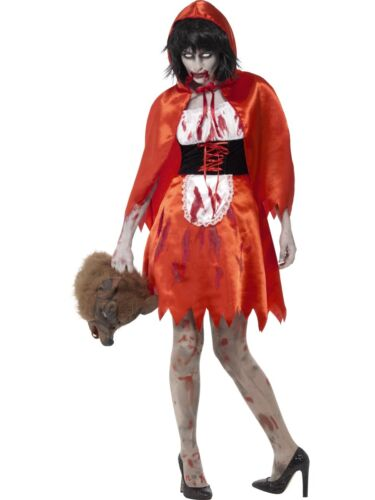 Zombie Little Miss Capucha Fancy Dress Costume Hembra Red Riding Hood de Halloween