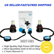 2PC HID 6000k White 9007 HB5 High Power LED Headlight Bulbs Light Conversion Kit
