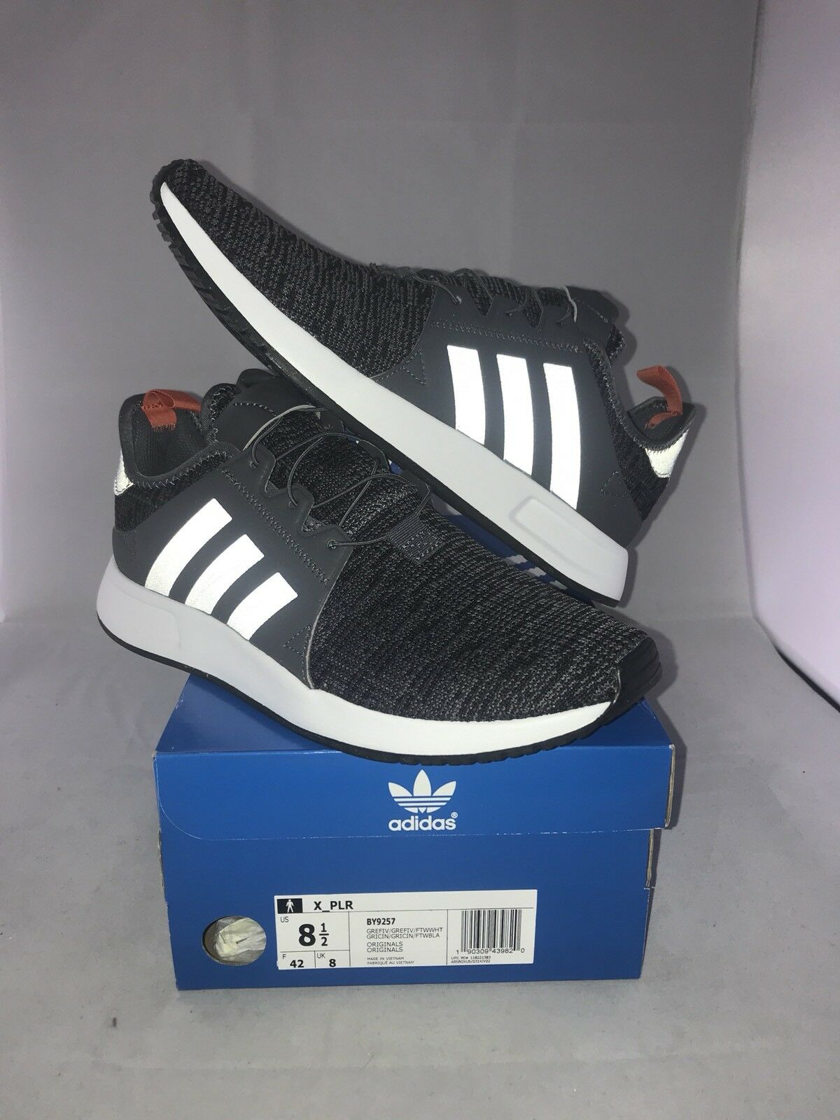 ADIDAS ORIGINALS X PLR SZ 8.5 GREY FIVE WHITE KNIT X_PLR BY9257
