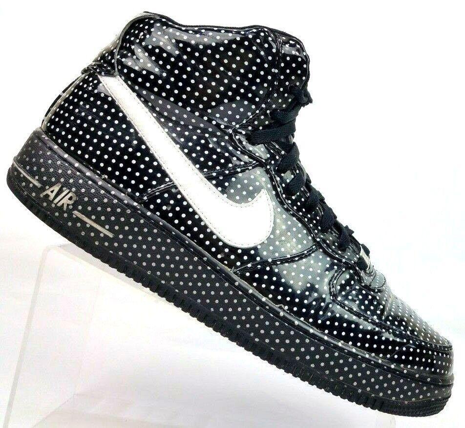 Nike AIR FORCE 1 '82 Black White Polka Dot Hi-top Sneakers Men's US 11