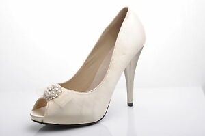 4a2402d46a37 Image is loading Satin-Champagne-Diamante-Details-Wedding-Platform-Shoes-UK-