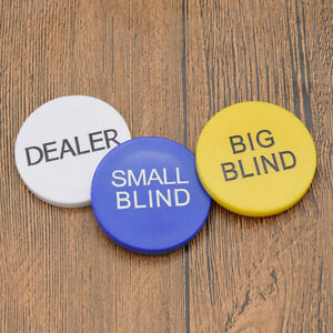 Details About Texas Hold Em Buttons Poker Chips Small Blind Big Blind Dealer Play Game Tool