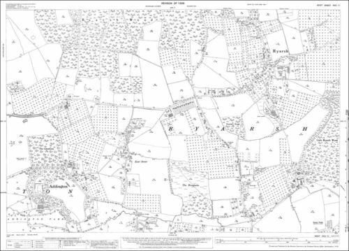 Ryarsh old OS Kent map 30-11-1936 Addington