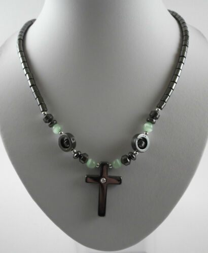 Various non-magnetic Hematite Cats Eye Cross necklaces